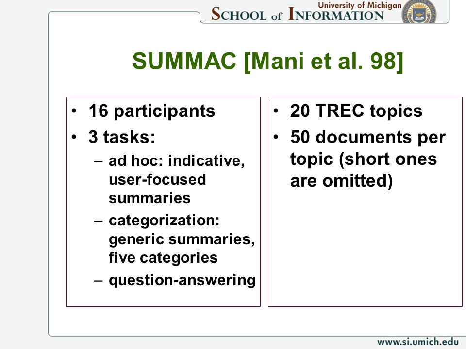 SUMMAC [Mani et al. 98] 16 participants 3 tasks: 20 TREC topics
